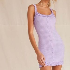 Purple Gingham Ruffled Dress